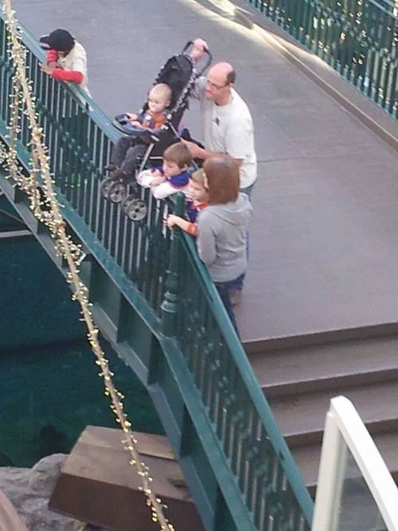 Dad Holding Baby on Bridge